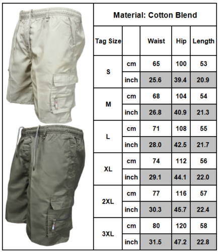 AU Mens Elasticated Waist Shorts Cargo Combat Casual Summer Holiday Plain Pants