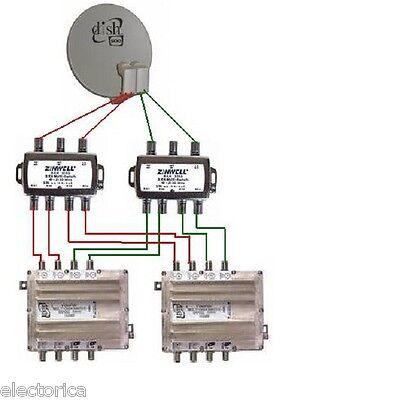 3x4 zinwell sam-3402 sw34 multi-switch for: lnb directv 2x4 bell dish