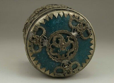 Chinese Old Tibet Silver Handwork Inlay Jade Dragon Phoenix Tobacco Box 0 2
