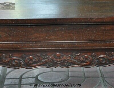 """22""""  China Huanghuali Wood Carved Ruyi Drawer Lockers cabinet table desk Statue 4"""