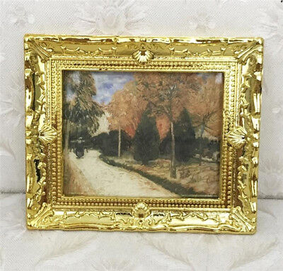 1:12 Dollhouse Miniature Furniture Room Oil Painting Autumn Gold Frame Decor  \