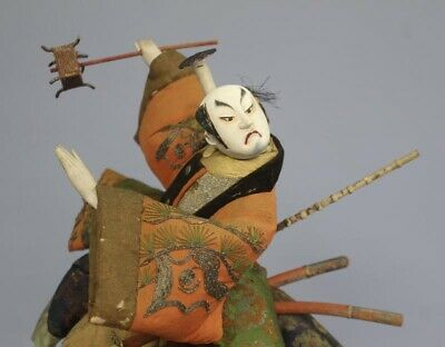"Antique Japanese Samurai of Kabuki Actor Large Doll Around 1800 Edo Period 17"" 3"
