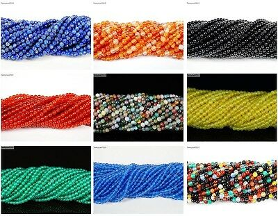 Natural Gemstones 2mm & 3mm Round Spacer Seed Beads 15.5'' Jewelry Design Crafts 3