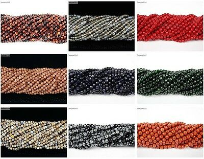 Natural Gemstones 2mm & 3mm Round Spacer Seed Beads 15.5'' Jewelry Design Crafts 6