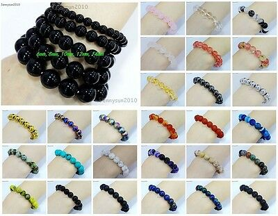 Handmade 8mm Mixed Natural Gemstone Round Beads Stretchy Bracelet Healing Reiki 2
