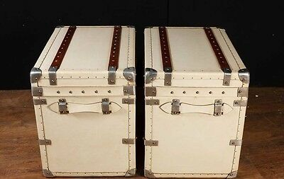 Pair White Leather English Luggage Trunks Boxes Side Tables 3