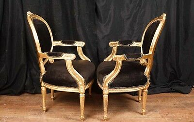 Pair French Empire Gilt Arm Chairs Fauteils 4