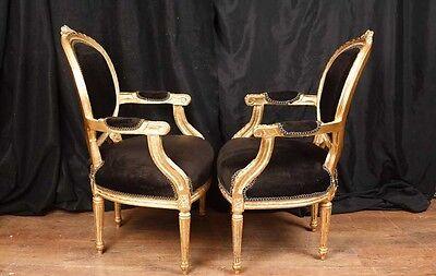 Pair French Empire Gilt Arm Chairs Fauteils 4