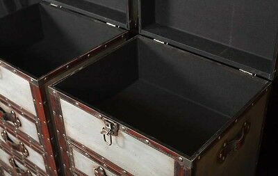 Pair Campaign Industrial Nightstands Chest Drawers Bedside Tables Luggage Trunk 5