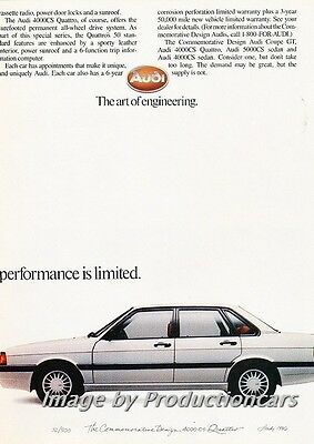 1986 Audi Coupe GT and 4000 Original 2-page Advertisement Print Art Car Ad J713 2