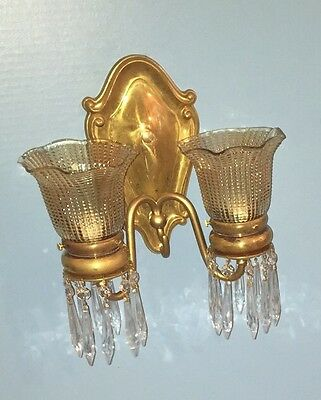 2 Unique Elegant Brass Sconces With Hanging Prisms Vintage Antique Wired 3