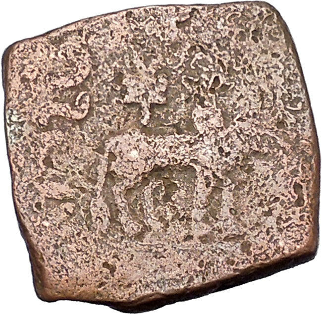 AZILISES 85BC INDO SKYTHIAN King on Horse Bull Ancient Greek Coin India i47049 2