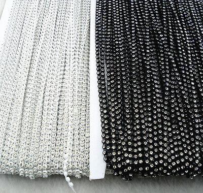 SS6 A Grade clear glass crystal 2mm Rhinestone banding white black Setting chain 5