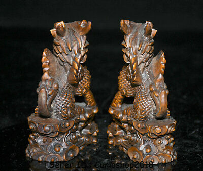 "4"" Old Chinese Boxwood Wood Carving Dragon Qilin Beast Wealth Lucky Statue Pair 9"
