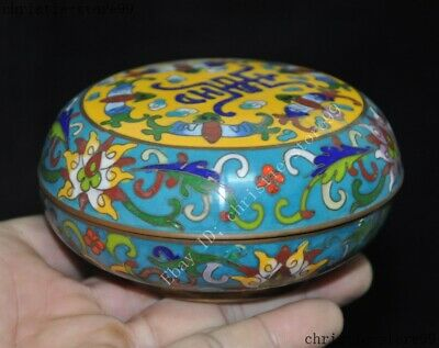 Chinese palace dynasty bronze Cloisonne wealth animal bat flower rouge box boxes 2