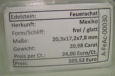 Echter Feuerachat aus Mexiko ( 20,98 Carat ) in Box mit Spezifikation