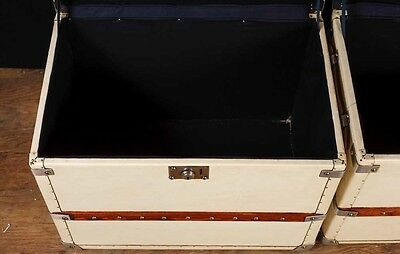 Pair White Leather English Luggage Trunks Boxes Side Tables