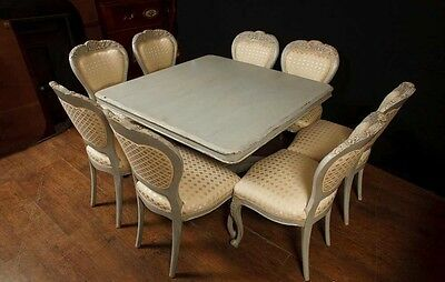 Set 8 French Provincial Painted Dining Chairs Rustic Furniture 6