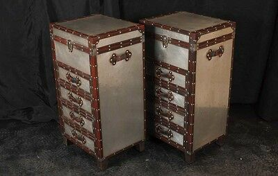 Pair Campaign Industrial Nightstands Chest Drawers Bedside Tables Luggage Trunk 11 • £1,295.00