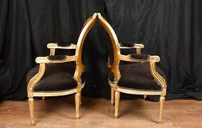 Pair French Empire Gilt Arm Chairs Fauteils 8