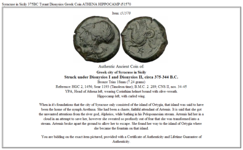 Syracuse in Sicily 375BC Tyrant Dionysios Greek Coin ATHENA HIPPOCAMP  i51570 3
