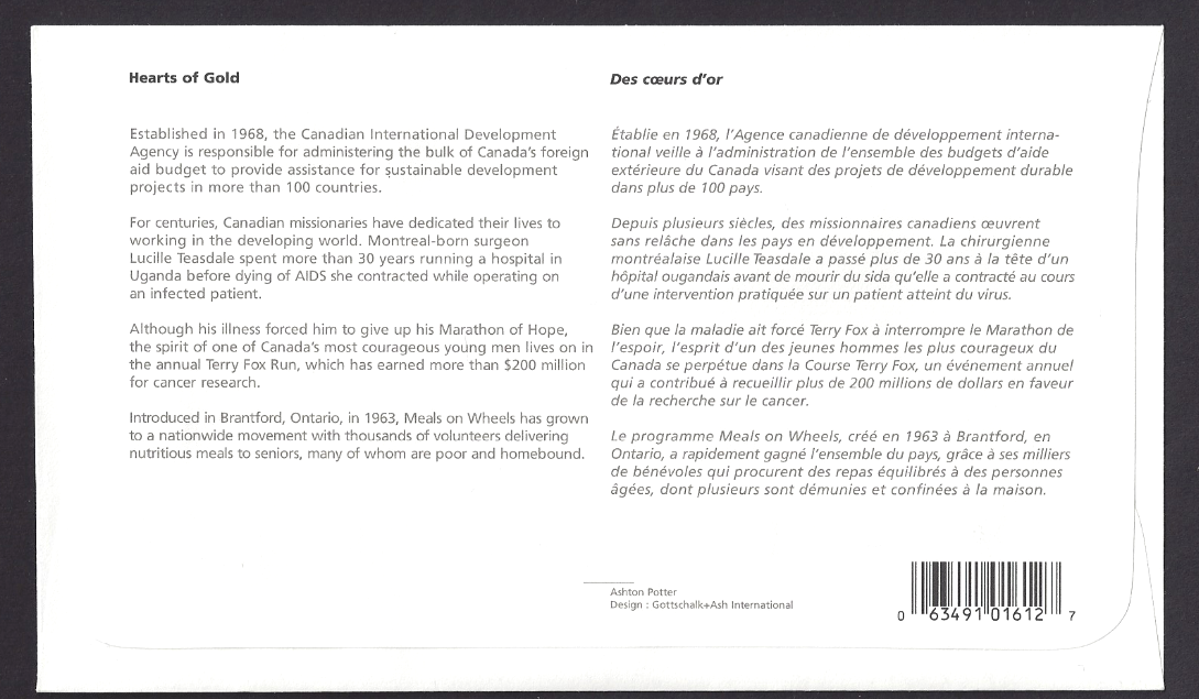 Canada   # 1824 a-d  Hearts of Gold   New 2000 Unaddressed 2