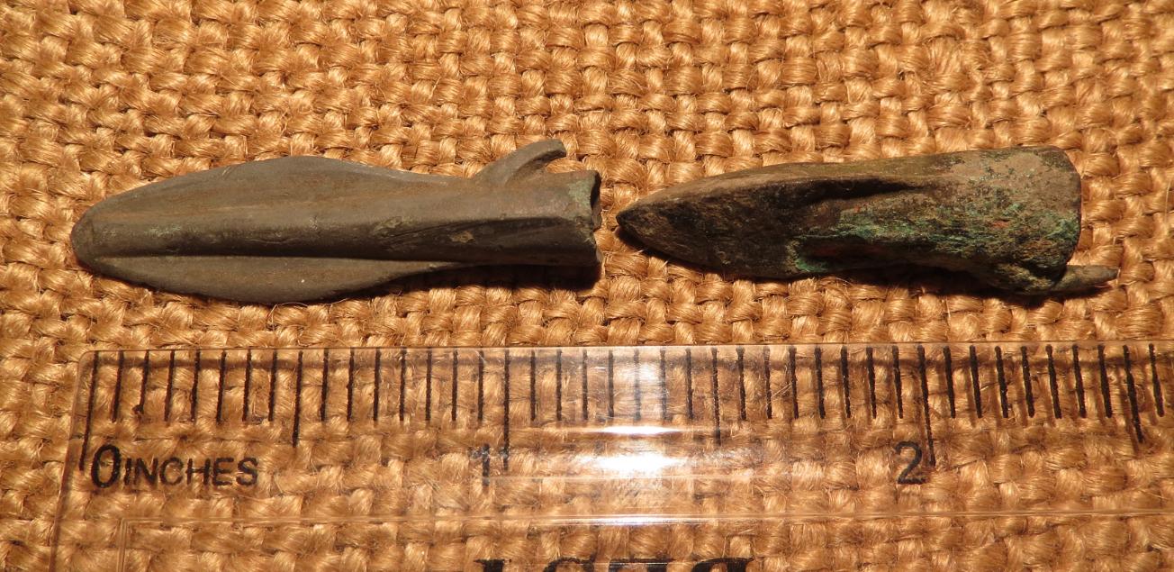 Scythian- Sarmatia Bronze 2 pcs.Old Original Ancient Barbed Arrowhea 7-4 BC #4