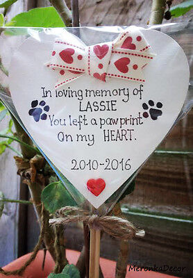 PET MEMORIAL-Dog-Cat Grave Personalised Plaque-'You left a pawprint' heart 3