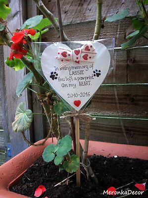 PET MEMORIAL-Dog-Cat Grave Personalised Plaque-'You left a pawprint' heart 2