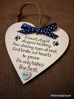 PET MEMORIAL-Dog-Cat Indoor Wooden Personalised Plaque- Blue 2