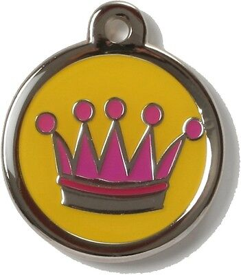 Bow Wow Pet Tag Dog Cat ID Laser Engraved - Crown 2