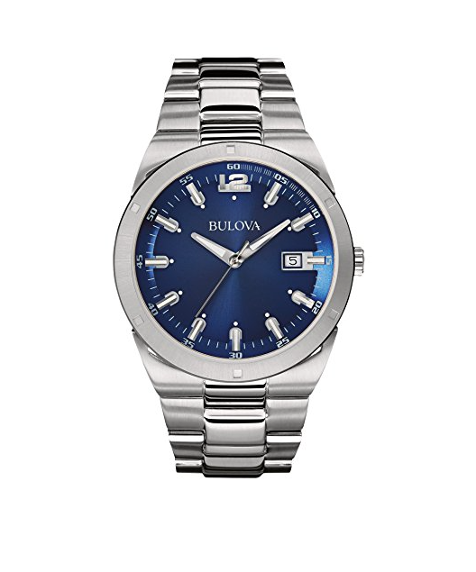 Bulova 96B220 Men's Dress Blue Dial Silver-Tone Stainless Steel Quartz Watch 3