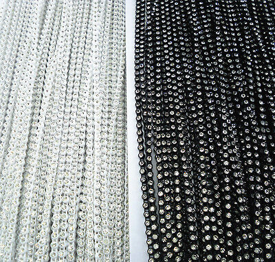 SS6 A Grade clear glass crystal 2mm Rhinestone banding white black Setting chain 6