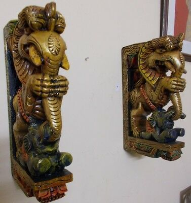 Wooden Bracket Hindu Temple Corbel Yalli Pair Dragon Statue Figure Wall Plaque 4
