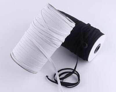 "5-10yds 6mm 1/4"" White Satin Elastic Cord Spandex Band Sewing Trim Braided DIY 5"