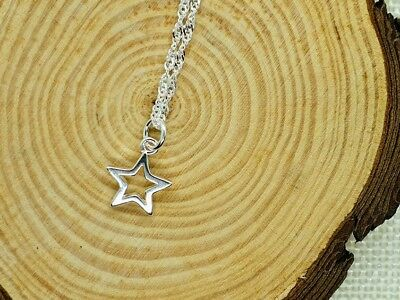 Shiny 925 Sterling Silver PLT Hollow Cut Out Star Pendant Necklace Lady Girl UK 4
