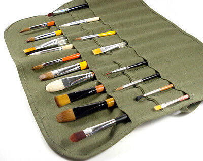 Popular Roll Up Canvas Paint Brush Storage Case Bag For Watercolor Oil WF 3