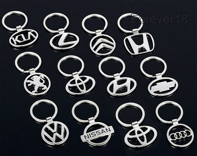 Car Logos 3D chromed Titanium Key Chain Car Keychain Ring Keyfob Metal Keyrings 2