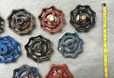 Lot Of 9 Vintage Heavy Metal Water Faucet Handles Knobs Valves Steampunk Lot#14 7