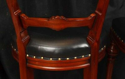 Pair Victorian Hand Carved Mahogany Bar Stools Seats 10