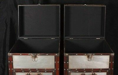 Pair Campaign Industrial Nightstands Chest Drawers Bedside Tables Luggage Trunk 8
