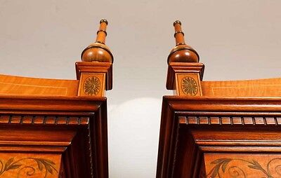 Pair Regency Satinwood Display Cabinets Bookcases Sheraton Furniture 9