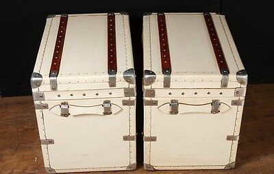 Pair White Leather English Luggage Trunks Boxes Side Tables 5