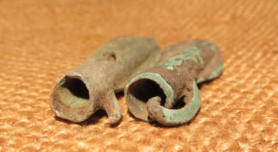 Scythian- Sarmatia Bronze 2 pcs.Old Original Ancient Barbed Arrowhea 7-4 BC #12 6
