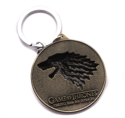 Game of Thrones House Stark Head Targaryen Baratheon 3D Metal Keyring Keychain 7