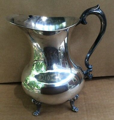 VINTAGE THE SHEFFIELD SILVER CO  FOOTED WATER PITCHER w/ ICE LIP ENGRAVED MONO 2