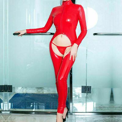 Sexy Wet Look Latexoptik Catsuit Overall Bodysuit Langarm Reißverschluss Dessous 6