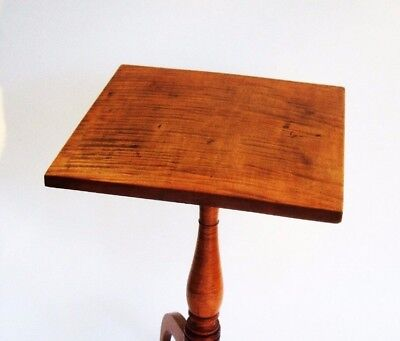 Antique Furniture Tiger Curly Maple Table Candlestand Federal