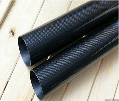 2pc 3K Carbon Fiber Tube Pipe x 500mm OD 5mm 6mm 7mm 8mm 9mm 10mm (Roll Wrapped)