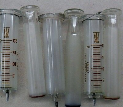 3 Stück Glasspritze Glaskolben Spritze Top-Zustand Medizin Arzt Instrument